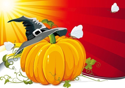 Halloween-Pumpkin-with-Ray-Background-Vector-Illustration thumb